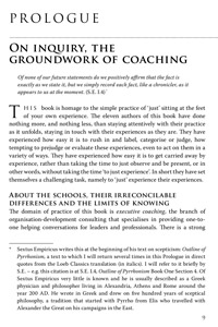 Prologue - on inquiry the groundwork of coaching